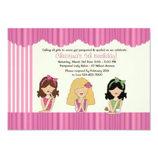 "Little Salon Beauties Spa Invitation 5"" X 7"" Invitation Card"