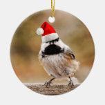 Little Santa Chickadee Christmas Ornament