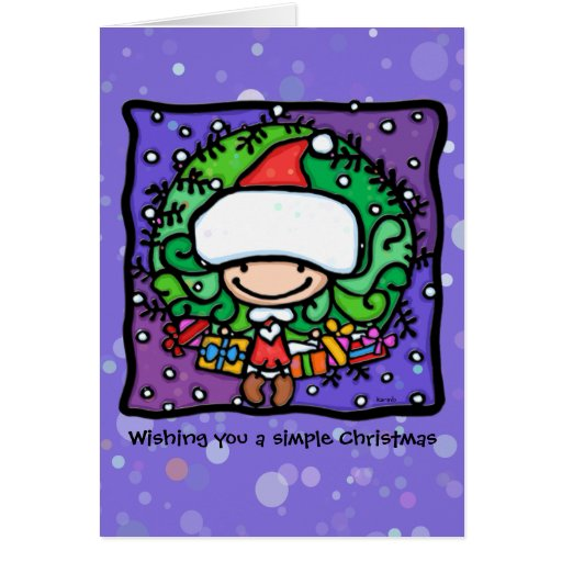 Little Santa Girl in Christmas wreath PPL Stationery Note Card