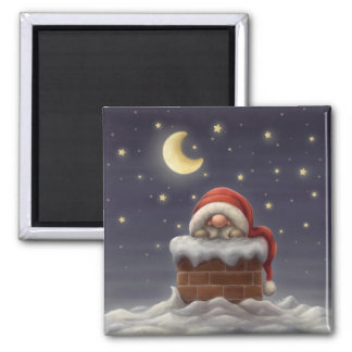 Little Santa in a chimney 2 Inch Square Magnet