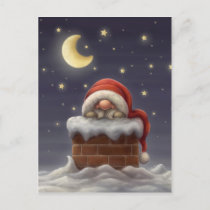 Little Santa in a chimney Holiday Postcard