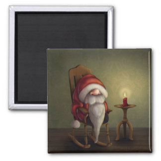 Little Santa in his rocking chair 2 Inch Square Magnet