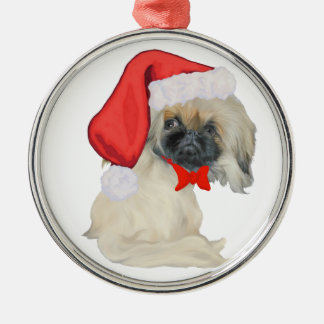 Little Santa Pekingese Metal Ornament