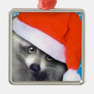 little santa racoon christmas ornament