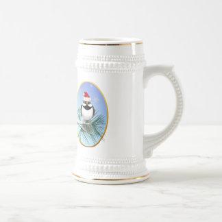 Little Santa Sparrow Oval Mugs