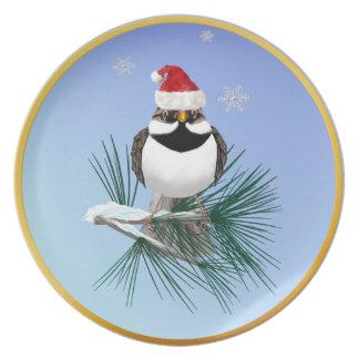 Little Santa Sparrow Plate