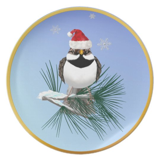 Little Santa Sparrow Plate