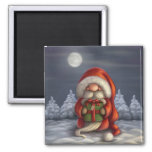 Little Santa with a gift 2 Inch Square Magnet