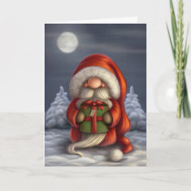 Little Santa with a gift Holiday Card