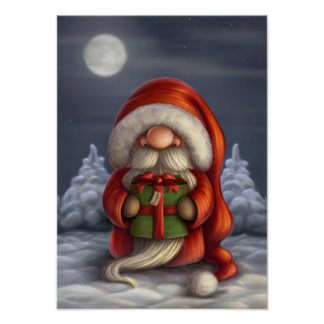 Little Santa with a gift Poster