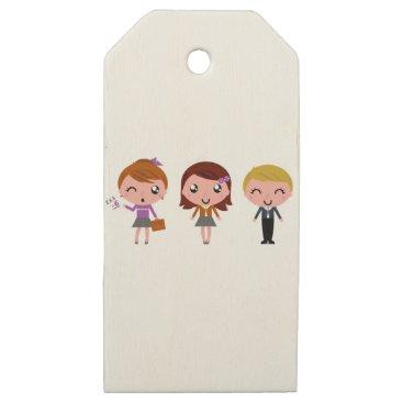 Beach Themed Little school kids original illustration wooden gift tags