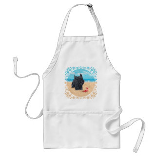 Little Scottie Finds a Crab at the Beach Adult Apron