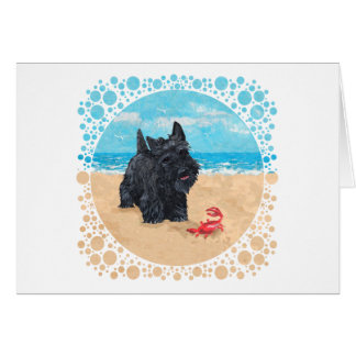 Little Scottie Finds a Crab at the Beach Card