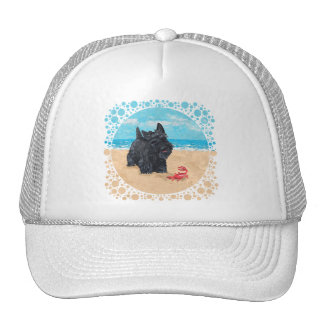 Little Scottie Finds a Crab at the Beach Trucker Hat