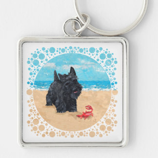 Little Scottie Finds a Crab at the Beach Keychain