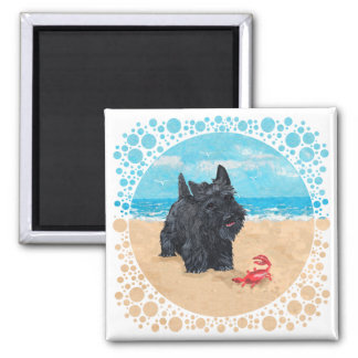 Little Scottie Finds a Crab at the Beach Fridge Magnets