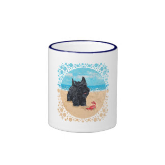 Little Scottie Finds a Crab at the Beach Ringer Mug