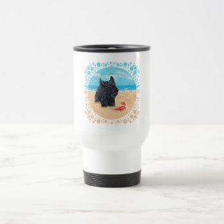 Little Scottie Finds a Crab at the Beach Travel Mug