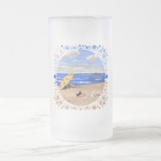 Little Scottie Plays at the Beach Frosted Glass Beer Mug