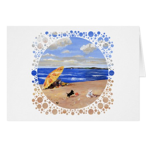 Little Scottie Plays at the Beach Greeting Card