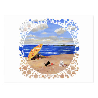 Little Scottie Plays at the Beach Postcard
