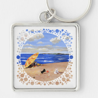 Little Scottie Plays at the Beach Silver-Colored Square Keychain