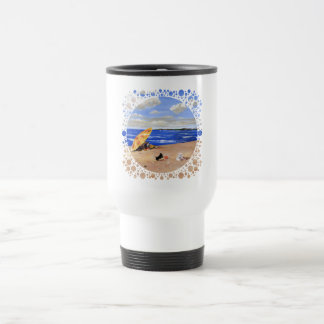 Little Scottie Plays at the Beach Travel Mug