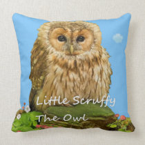Little Scruffy The Owl. Throw Pillow