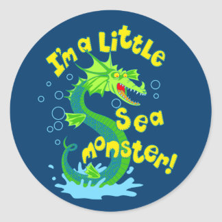 Little sea monster classic round sticker