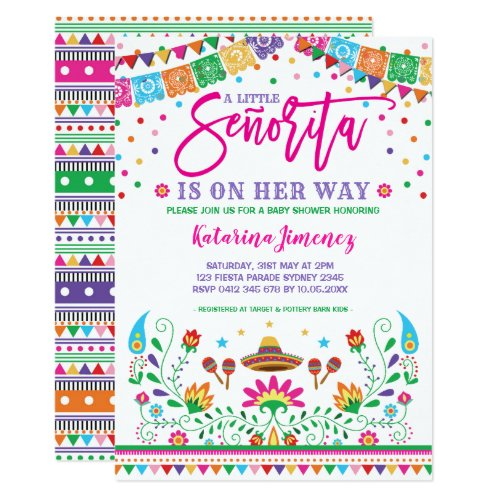 Little Senorita Fiesta Baby Shower Mexican Floral Invitation