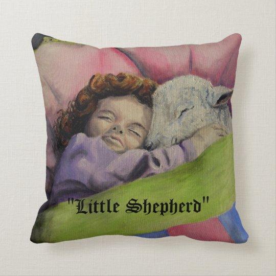 """""""Little Shepherd""""  Lamb of God with girl sleeping Throw Pillow"""
