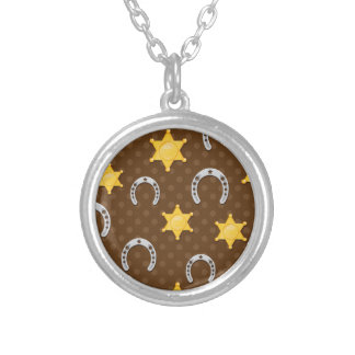 Little Sheriff Horseshoe Print Round Pendant Necklace