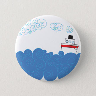 Little ship on sea pinback button