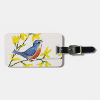 Little Singing Blue and Red Bird Yellow Flowers Luggage Tag