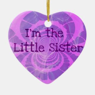 Little Sis Christmas Double-Sided Heart Ceramic Christmas Ornament