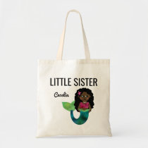 Little Sister African American Mermaid Faux Foil Tote Bag