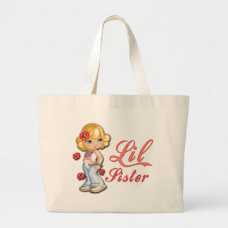 LIttle Sister and Flowers Canvas Bag