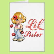 LIttle Sister and Flowers Card