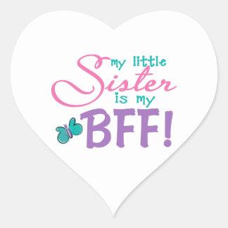 Little Sister BFF Butterfly Heart Stickers