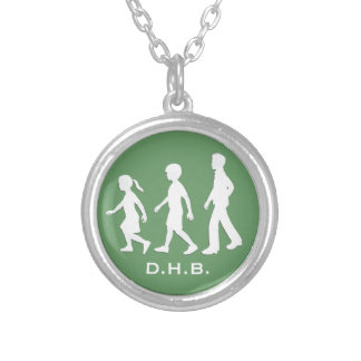 Little Sister, Big Brothers: Silhouette Siblings Round Pendant Necklace