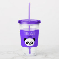 Little Sister Big Sister Kawaii Panda Girls Purple Acrylic Tumbler