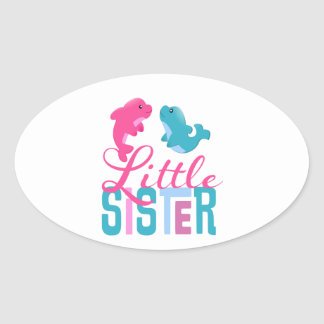 Little Sister Dolphins Oval Sticker