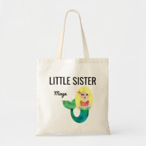 Little Sister Faux Foil Blonde Mermaid Girls Kids Tote Bag