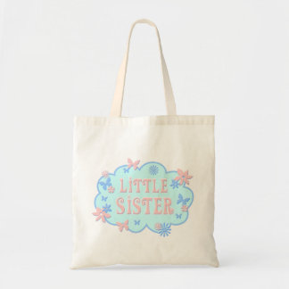 Little Sister Flower Butterfly Blue Design Tote Budget Tote Bag