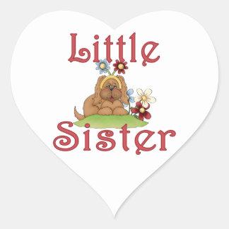 Little Sister Fluffy Pup 1 Heart Sticker