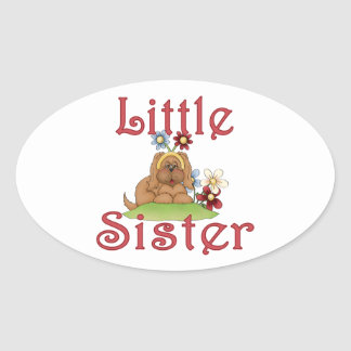 Little Sister Fluffy Pup 1 Oval Sticker
