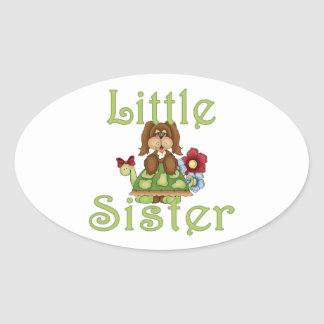 Little Sister Fluffy Pup 2 Oval Sticker