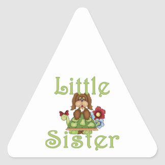 Little Sister Fluffy Pup 2 Triangle Sticker