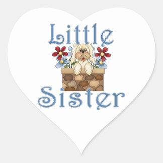 Little Sister Fluffy Pup 3 Heart Sticker