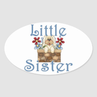 Little Sister Fluffy Pup 3 Oval Sticker